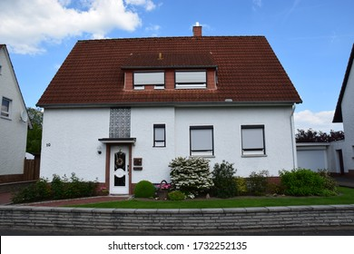 Lindhorst, Germany - May 21, 2017: Smal house from the German post war period