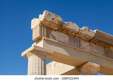 Lindian Athena on the island of Rhodes, Greece. Ruins of the ancient city of ancient civilization, the acropolis.