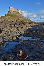 Lindisfarne, Northumberland UK Oct 27 2018 Lindisfarne Castle an historic castle on the Holy Island of Lindisfarne
