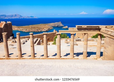 Lindos Acropolis aerial panoramic view in Rhodes island, Greece