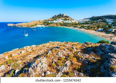 Lindos Acropolis and beach aerial panoramic view in Rhodes island, Greece