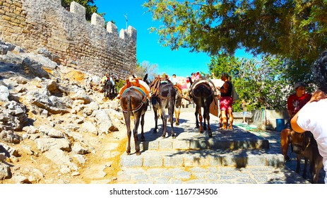 Lindos Acropolis in Rhodes Island Greece - August 10 2017 The Way for Acropolis