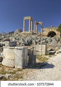 Lindos acropolis ruin in greek