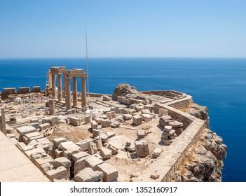 Lindos Acropolis Ruins on the Sea Cliff, Rhodes, Greece.