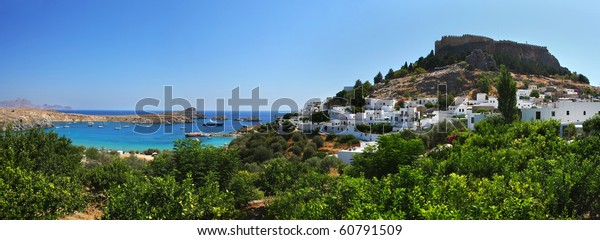 Lindos bay with majestic fortress (Rhodes island)
