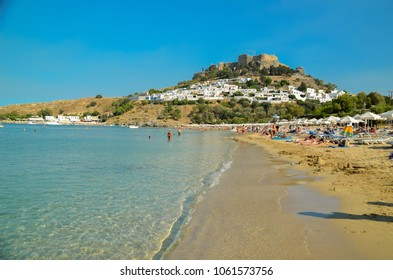 Lindos beach sea  Rhodes island summer holidays greece