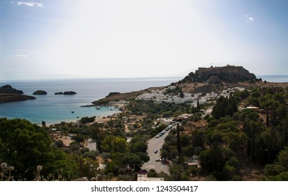 Lindos castle above on the Greek Island of Rhodes photo.
