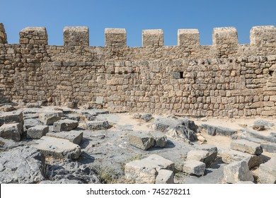 Lindos, Greece - 18 September, 2017:  ancient walls of Acropolis, the second largest and most significant in Greece (museum of Acropolis).