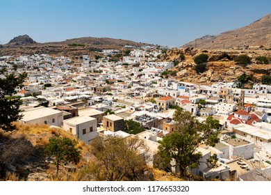 Lindos, Greece - August 5, 2018: View of the acropolis of the village of Lindos, on the Greek island of Rhodes in Greece.