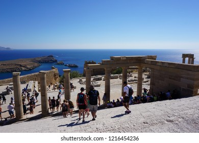 Lindos, Greece - July 21, 2018: ruins of the Acropolis