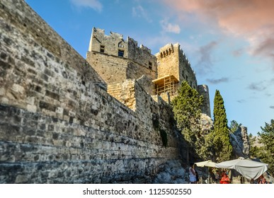 Lindos, Greece - September 16 2017: The medieval castle, the Governor's Palace of the Castle of the Knights of St John, in the ancient Greek town of Lindos on the island of Rhodes, Greece.