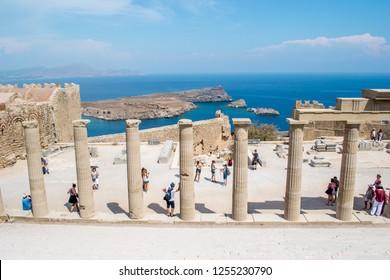 Lindos / Greece, September 2018: Lindos Acropolis