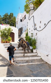LINDOS, ISLAND OF RHODES, GREECE – AUGUST 17 2017: Man leads donkeys down stairs in village of Lindos