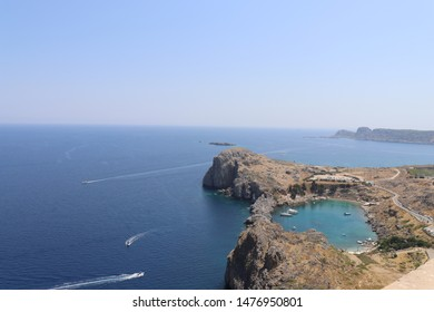 Lindos, Island of Rhodes, Greece, circa august 2019: St Paul's bay from the Acropolis of Lindos