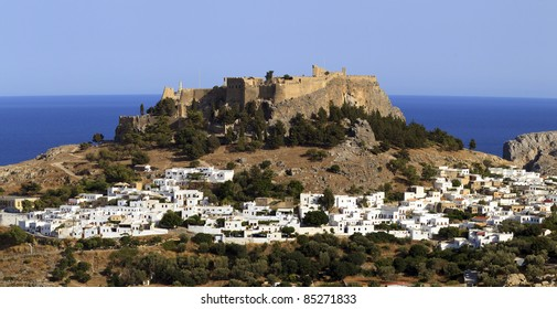 Lindos town in Rhodes, Greece
