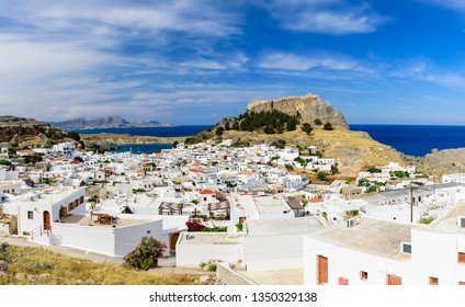 Lindos village and Lindos castle, Rhodes island, Dodecanese, Greece