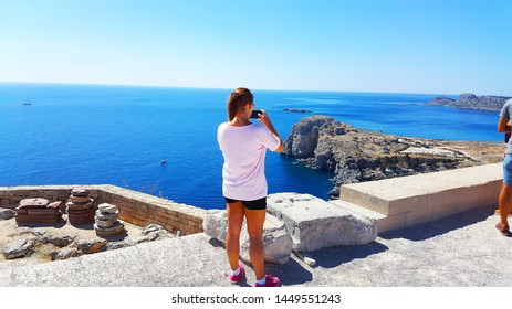 Lindos Village in Rhodes Island Greece - July 2017 Panoramic View of Saint Paul Bay from Lindos Acropolis