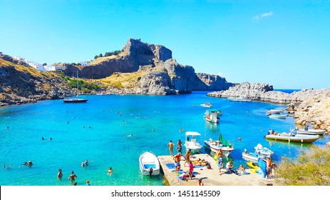 Lindos Village in Rhodes Island Greece - July 2017 Panoramic View of Saint Paul Bay