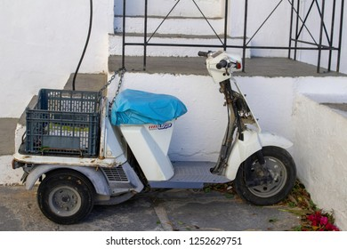 Lindos,Rhodes,Greece, 25/10/2018. A small Honda GYRO used here as a delivery vehicle to navigate the narrow streets of lindos.