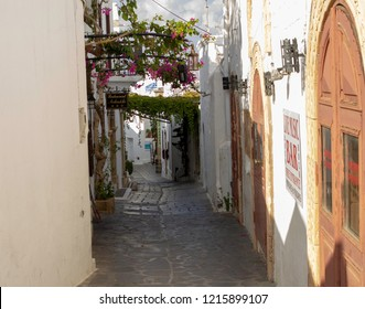 Lindos,Rhodes,Greece,13/10/2018.One of the many narrow streets of Lindos, a small fishing village very popular with tourists.