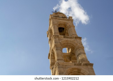 Lindos,Rhodes,Greece,13/10/2018.The spire of the 18th century church, The Dormition of the Holy Mother of God, Lindos, one of about a dozen churches in this beautiful village.