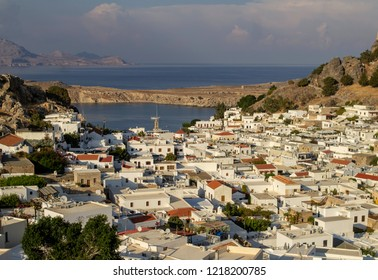 Lindos,Rhodes,Greece,13/10/2018. Lindos  viewed from one of the many vantage points overlooking the village, Architecturally lindos is famous for its whitewashed buildings and narrow streets.