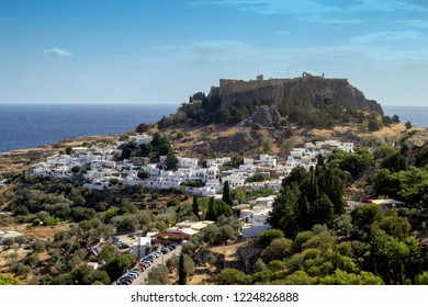 Lindos,Rhodes,Greece,25/10/2018. The historic town of Lindos,with its whitewashed walls and the medieval acropolis which towers above it.