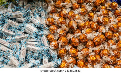 Lindt cholate canday at Lindt shop in Goldcoast, Australia - 23 June 2019; the chocolate with high quality for all people