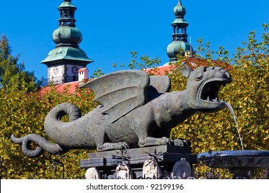 Lindworm Fountain - symbol of the city Klagenfurt in Austria. The fountain was erected in the 16th century.