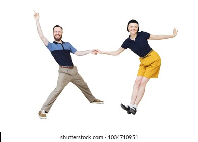 Lindy hop or rock'n'roll dance boogie woogie. Boogie acrobatic stunt in a studio background. Dance for rock-n-roll music.
