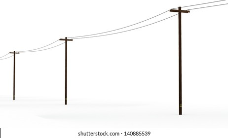 Line of 3D Rendered Power Poles on a White Background