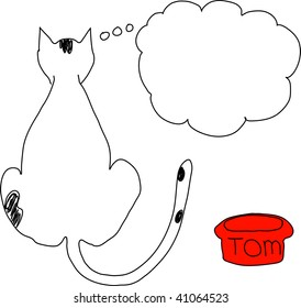line art of cat thinking with bubble hanging over