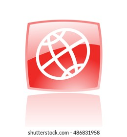 Line art globe in red button isolated on white