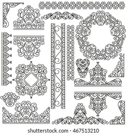 Line art set. Decorative frames for your design isolated on the white.