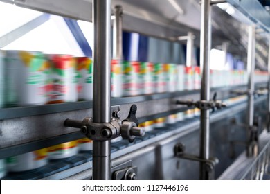 line in beverage factory, refrigerants to pass with speed.