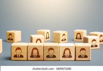 Line of blocks with employees. Building a business team from many candidates. Personnel management, team group formation for a new project. Hiring and recruiting workers. Cooperation and collaboration