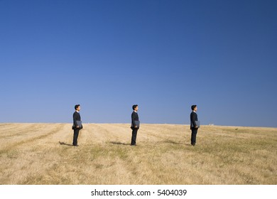 in line businessman working as a team with the nature
