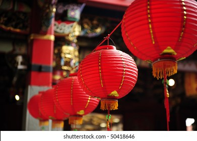 line  chinese red lantern in the temple