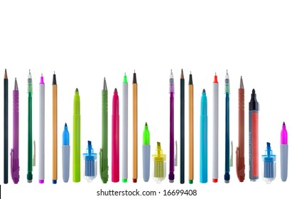 A line of a colorful variety of supplies: pens, pencils and mechanical pencils. Isolated on white.