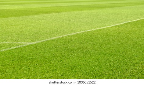 Line of corner football with beauty grass background