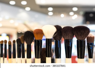 Line up of cosmetic brush with bokeh background