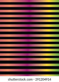 Line design in metallic color gradients  Lines pattern design in metallic green color gradients from shades of orange, fuchsia, yellow and, on black background.