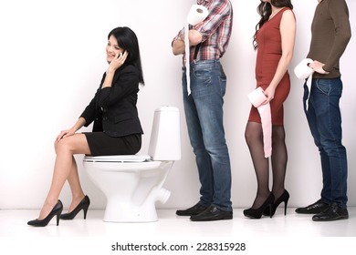 line of diverse people standing in queue in profile isolated on white. businesswoman sitting in toilet and talking on cell phone