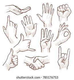 Line drawing doodle hands showing common signs collection. Gesture hand for communication, illustration of sketching hands