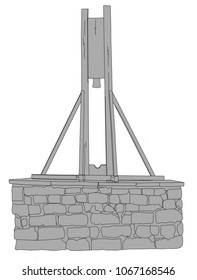 A line drawing of the The Halifax Gibbet  which was an early guillotine, or decapitating machine, used in Halifax, West Yorkshire, England