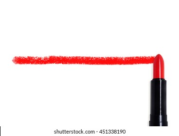 A line is drawn using a red lipstick on an isolated white background, dividing the image in half.