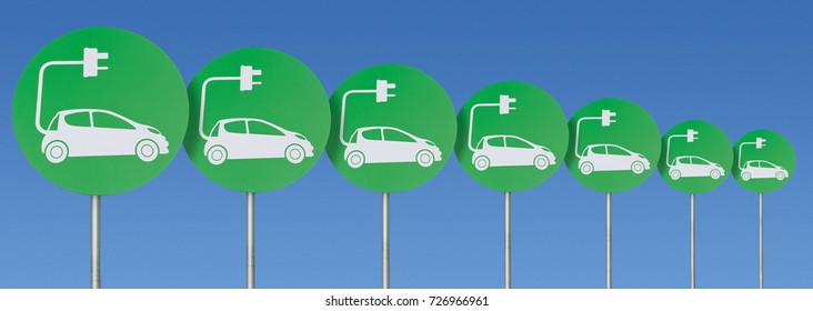 A Line of Electric Car Charging Point Signs in the Car Park of the Future