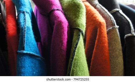 a line of felts (jackets)