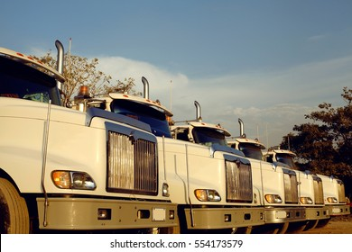A line of heavy duty freight trucks parked in a row at a dirt road