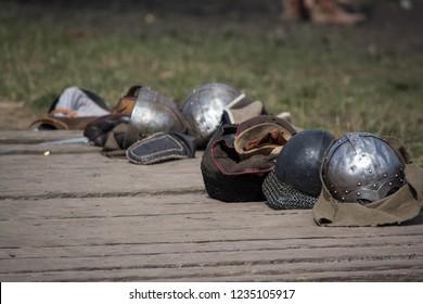 Line of historical helmets